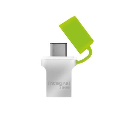 Integral USB flash drive: FUSION - Groen, Zilver