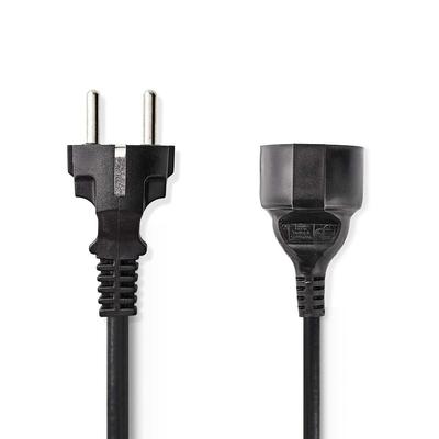 Nedis Schuko M/Schuko F, 3x 0.75mm², Ø6.5mm, PVC, 2m Electriciteitssnoer - Zwart