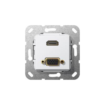 "GIRA Basiselement HDMI ""High Speed with Ethernet"" en VGA 15-polig Verloopkabel Wandcontactdoos"