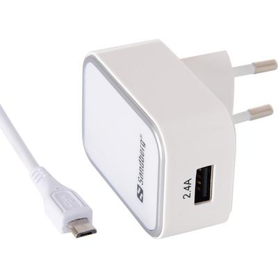 Sandberg AC Charger EU Micro USB 2.4A Oplader - Wit