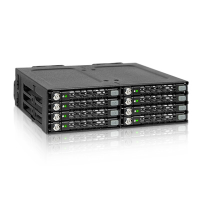 "Icy Dock 8x2.5"", 6 Gbit/s, 146x142.4x41.3mm, 885g, Black Drive bay - Zwart"