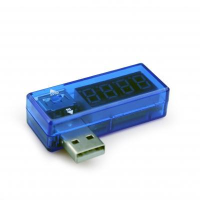 Gembird elektrische meter: 3.5 ~ 7 V DC, 3 A, USB-A, 52 x 34 x 20 mm, 20 g - Blauw