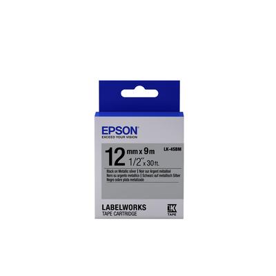 Epson Metallic Tape - LK-4SBM Metallic Blk/Siv 12/9 Labelprinter tape