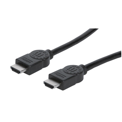 Manhattan HDMI Cable with Ethernet, 4K, Male to Male, 2m, 4K@30Hz, HEC, ARC, 3D, Shielded, Black, Polybag HDMI .....