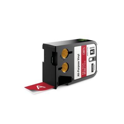 "Dymo labelprinter tape: XTL 1"" (24 mm) universeel vinyl, wit op rood - Zwart"