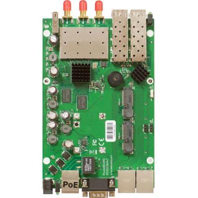 Mikrotik 720MHz CPU, 128MB RAM, 3x Gigabit Ethernet, 2xSFP cage, built-in 5GHz 3x3 MIMO wireless, 2x miniPCI-e, .....
