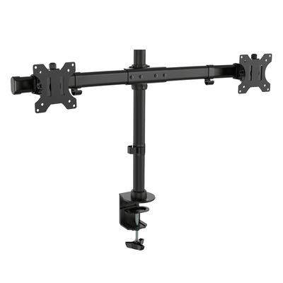 Ewent Dubbele monitor bureausteun met Crossbar voor twee monitoren tot 27 inch Monitorarm - Zwart