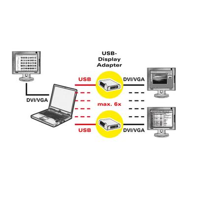 ROLINE USB Display Adapter, USB - DVI/VGA Kabel adapter - Zwart