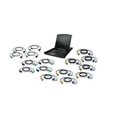 "Iogear rack console: KVM Drawer Kit w / PS/2 & USB KVM Cables, 16-Port, 48.26 cm (19 "") LCD - Zwart"