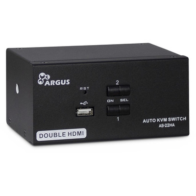 Inter-Tech AS-22HA HDMI KVM switch - Zwart