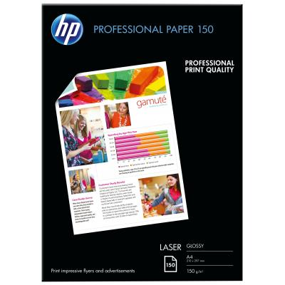 Hp papier: Professional Glossy Laser Paper 150 gsm-150 sht/A4/210 x 297 mm - Wit