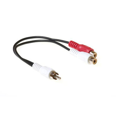 ACT Audio splitkabel 1x Tulp male - 2x Tulp female. Lengte: 0,20. Eenh. 1 stk - Zwart, Rood, Wit