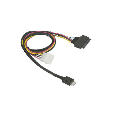 Supermicro SFF-8611/SFF-8639, Male/Male, 0.75m, Black/Red/Yellow Kabel - Zwart,Rood,Geel
