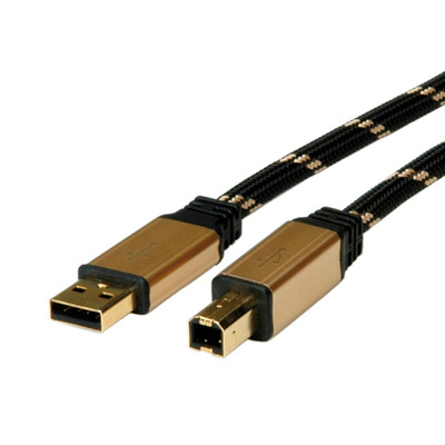 ROLINE GOLD USB 2.0 kabel, type A-B 4,5m USB kabel - Zwart,Goud