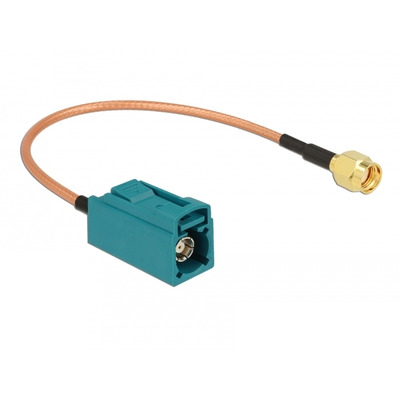 DeLOCK Antenna Cable FAKRA Z jack > RP-SMA plug RG-316 20 cm Coax kabel - Bruin,Groen