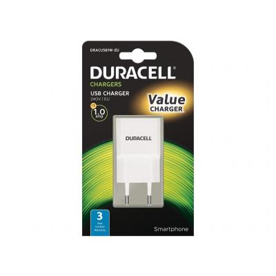 Duracell 1A USB Smartphone Wall Charger Oplader - Wit
