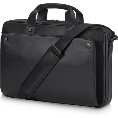 Hp laptoptas: Executive Black Leather 15.6 Top Load - Zwart