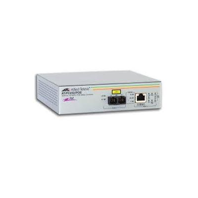 Allied Telesis 10/100TX PoE to 100FX (SC) standalone, 2x Fast Ethernet, 2km, 1310nm, European power cord .....