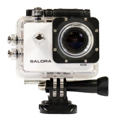 Salora actiesport camera: Full HD ActionCam met WiFi, waterproof casing, display en meerdere accessoires. - Wit