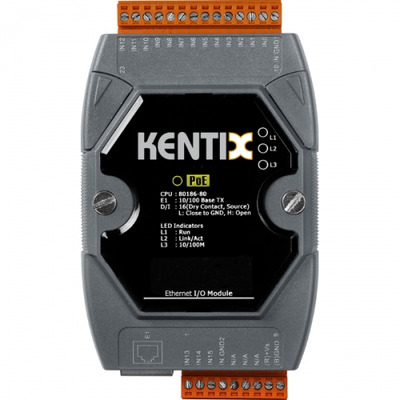 Kentix 16 Inputs, LAN 10/100 Base-TX, PoE, f / AlarmManager-PRO Digitale & analoge i/o module - Zwart,Grijs,Oranje