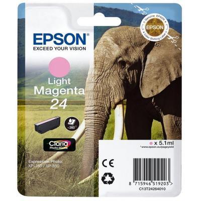 Epson inktcartridge: 24 inktcartridge licht magenta standard capacity 5.1ml 360 pagina s 1-pack blister zonder alarm - .....