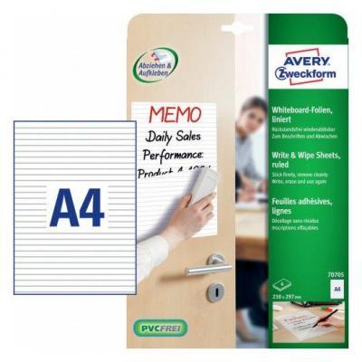 Avery millimeterpapier: Zweckform whiteboardfolie ft A4, wit gelijnd, pak van 4 stuks