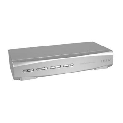 Lindy 4 Port DVI-I Dual Link, USB 2.0 & Audio Pro KVM switch - Zilver