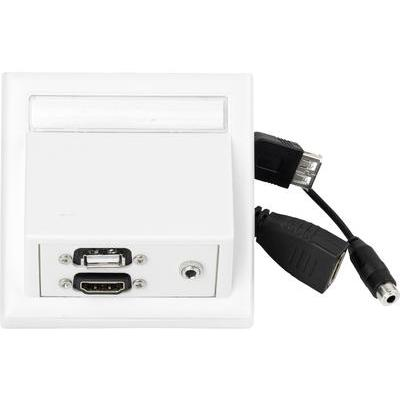 VivoLink Wall Conection HDMI + USB + 3.5mm, White Wandcontactdoos - Wit