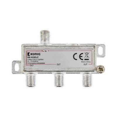 König kabel splitter of combiner: 3-wegs CATV F-splitter 5 - 1218 MHz - Zilver
