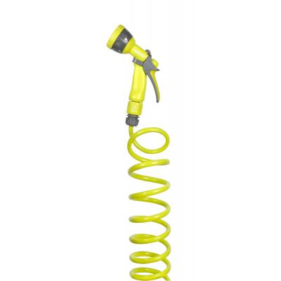 Hozelock tuinslang: Seasons spiral hose Lime 10 meter inclusief Multi Spraygun - Limoen