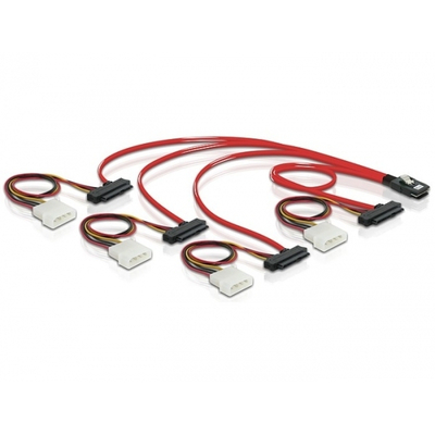Delock SCSI kabel: Cable mini SAS 36pin to 4x SAS 29pin - Rood