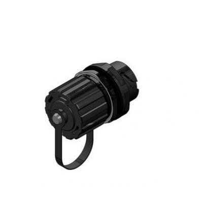 Conec Inline Coupling both sides bayonet locking + protective cover Kabel connector - Zwart