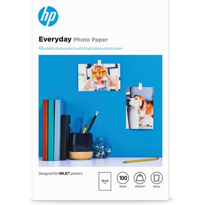 HP Everyday glanzend, 100 vel, 10 x 15 cm Fotopapier - Wit