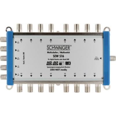 Schwaiger : 4x F jack (SAT) + 1x F jack (terrestrial) input, 16x F jack (SAT) output, 155 x 80 x 20 mm