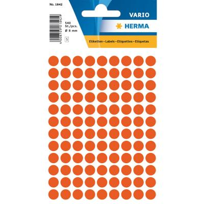 Herma etiket: Universele etiketten Ø 8 mm rond rood papier mat 540 st.