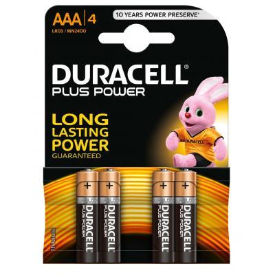 Duracell batterij: Plus Power alkaline AAA-batterijen, verpakking van 4 - Zwart, Goud