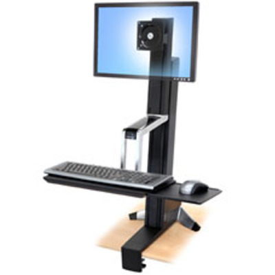 Ergotron WorkFit-S, Single LD Sit-Stand Workstation Bureau - Aluminium, Zwart