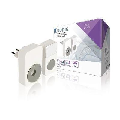 König deurbel: Plug-in Draadloze Deurbel Set 220V 85 dB Wit/Grijs - Grijs, Wit