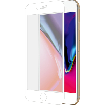 Azuri Curved Tempered Glass RINOX ARMOR - wit frame - voor iPhone 7/8 Screen protector - Transparant, Wit