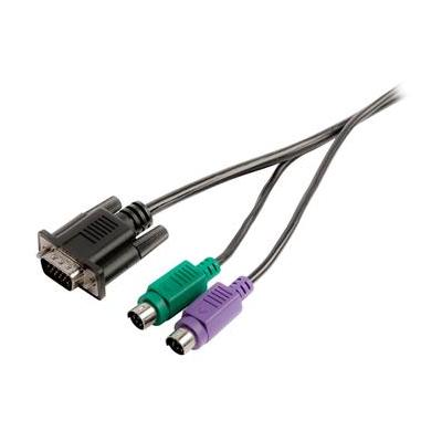 Valueline VGA/2x PS2 - VGA/2x PS2, 2m KVM kabel - Zwart