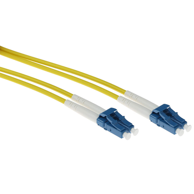 ACT 0.5 meter singlemode 9/125 OS2 duplex armored fiber patch kabel met LC connectoren Fiber optic kabel - Geel
