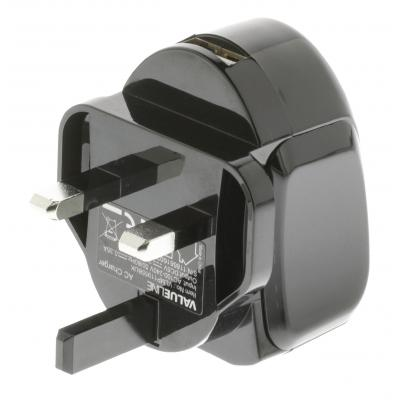 Valueline 5V, 2.4A, USB, black Oplader - Zwart