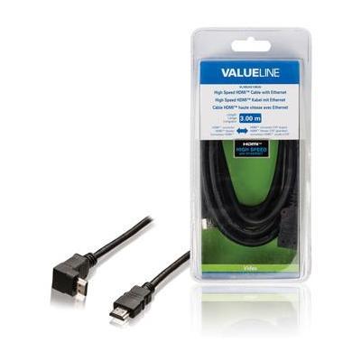 Valueline High Speed HDMI-kabel met ethernet HDMI-connector - HDMI-connector 270° gehoekt 3.00 m zwart HDMI .....