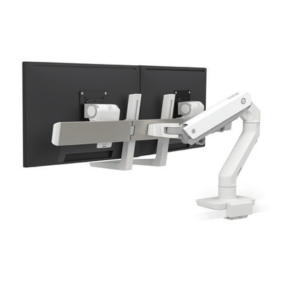 Ergotron HX Series Dual Monitor Arm, Low-Profile Top Mount C-Clamp, White Monitorarm - Wit