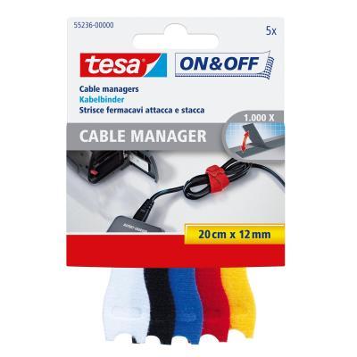 Tesa kabelbinder: On & Off - Zwart, Blauw, Rood, Wit, Geel