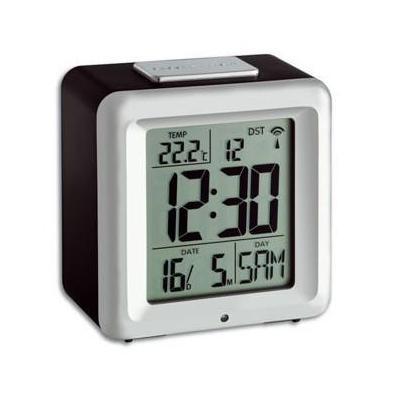 Tfa wekker: Radio controlled alarm clock with thermometer - Zwart, Zilver