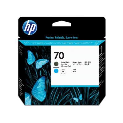 Hp printkop: 70 matzwarte/cyaan DesignJet printkop - Cyaan Pigment, Matzwart Pigment