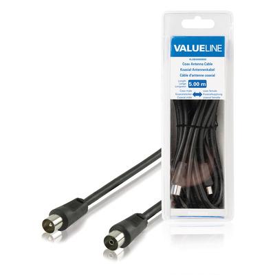 Valueline Coax antennekabel, coax mannelijk - coax vrouwelijk, 5.00 m, zwart Coax kabel