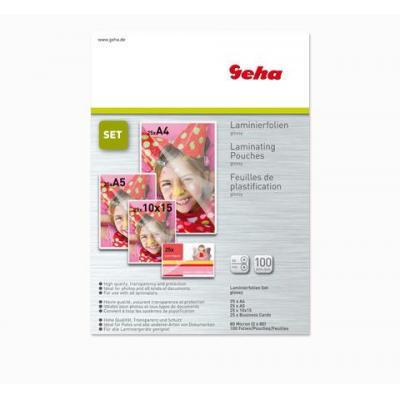 Geha 80 Micron, DIN A4, DIN A5, 10x15cm Laminatorhoes - Transparant