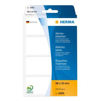 Herma adreslabel: Address labels for typewriters continous fanfolded 88x35 mm white paper matt 250 pcs. - Wit
